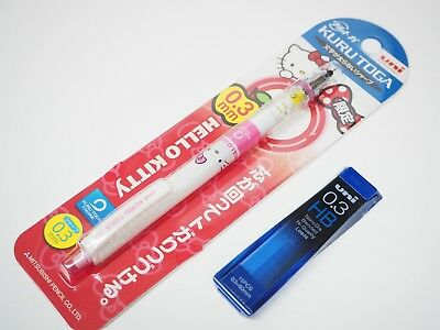 Uni-ball Sanrio Hello Kitty Kuru Toga 0.3mm Mechanical Pencil 1 Tube Of Leads