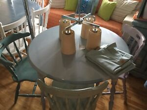 Light blue grey dining table w/ 4 chairs