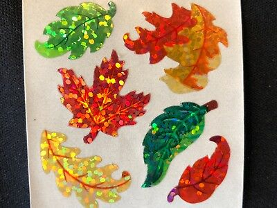 1 VINTAGE 80'S SANDYLION GLITTER AUTUMN LEAF STICKER