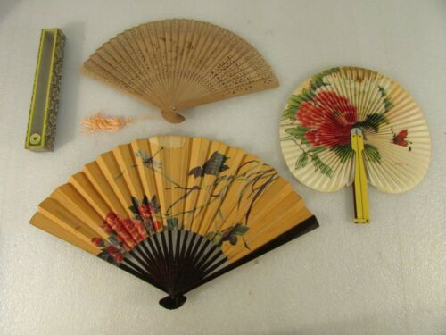 Lot of 3 Vintage Chinese Hand Fans - 3 Different Styles - Made In China - AS-IS