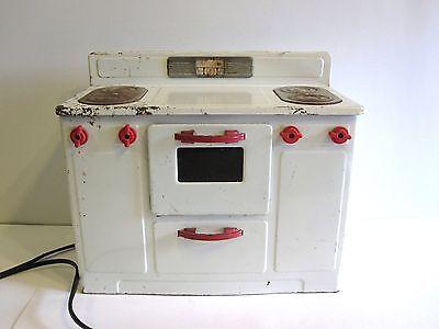 Empire Electric Toy Stove Range Oven Metal Enamel White Red Vintage
