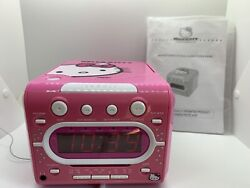 Sanrio Pink HELLO KITTY Stereo CD Player AM/FM Dual Alarm Clock Radio KT2053A