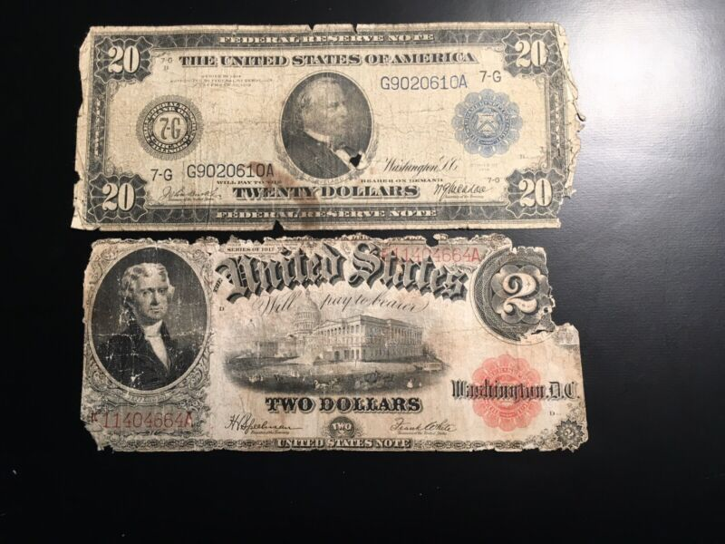 20.00 1914 Large Currency 2 Notes In This Lot Plus 2.00 1917 22.00 Face Value