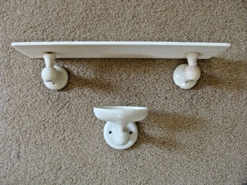 RARE ANTIQUE PORCELAIN & MILK GLASS BATHROOM SHELF & SOAP DISH VICTORIAN