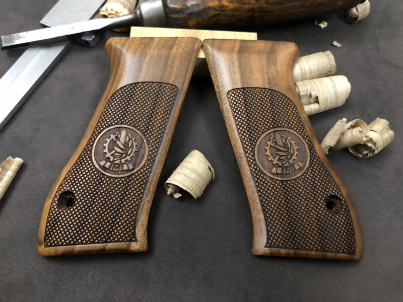 Jericho 941F, 941FS Walnut Wood Grips. Handmade. Checkered. US Based Seller