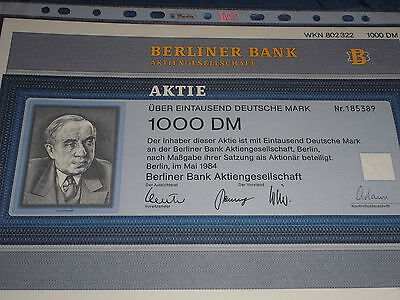 B 3 : histor.Wertpapier , Deutsche Aktie , BERLINER BANK , 1000 DM , Mai 1984