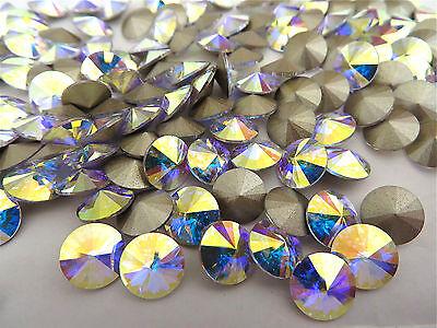 12 Crystal AB Foiled Swarovski Crystal Rivoli Stone 1122 39ss 8mm