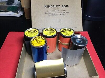 Kingsley Hot Stamp Stamping Foil - 6 Rolls New And Used Red Black Blue Gold
