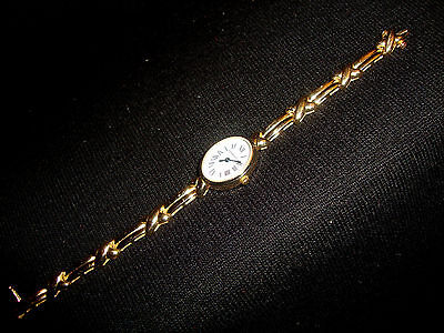 Reed Oval Ribbon (Ladies Austern & Paul Solid 14kt Gold Oval Wrist Watch Reed Ribbon Link Band)