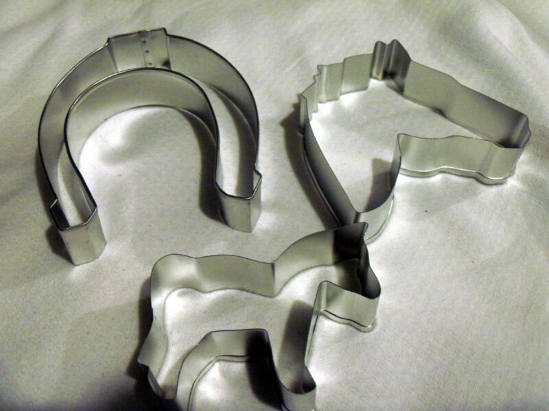 Horse Set Cookie Cutters 3 pc. Western Race  Wedding Horseshoe Horse  Equestrian