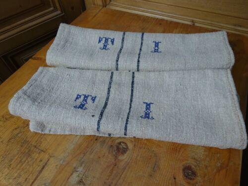 Antique European Feed Sack GRAIN SACK TI Monogram # 9951