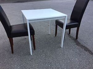 IKEA white kitchen/dining table with 2 leather chairs.  London Ontario image 2