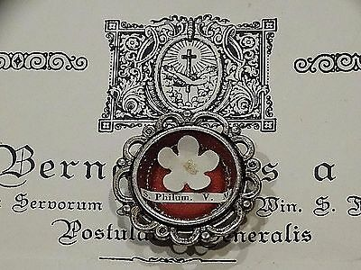 Catholic Holy Papal Relic St. Philomena Flower Reliquary with Documentation