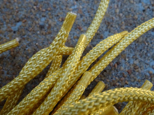 """Bolo Cord 36"""" YELLOW Rayon (pkg 12) 0809 Plasticized Tips 4mm thickness"""