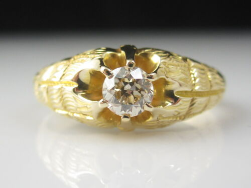 Victorian Diamond Belcher Ring 14K Yellow Gold Old European Cut Antique Vintage