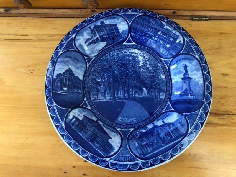 Antique Souvenir Plate WATERBURY CONNECTICUT Staffordshire England Rowland