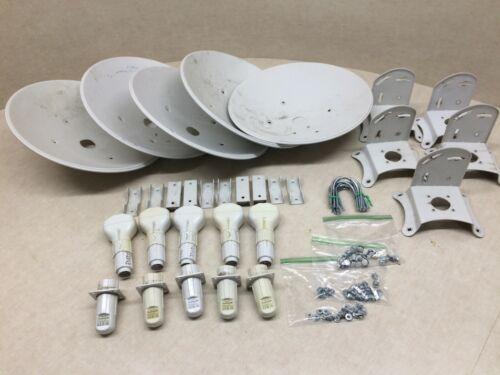 Lot of 5 Ubiquiti NanoBridge M5 Feedhorn Antenna w/ Mounting Hardware & Dishes