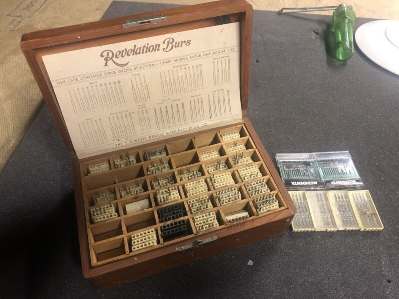 SS White Dental Revelation Burs Vintage Wood Box & Over 160 burs Ash Medadental