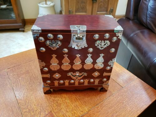 Vintage Lacquered Jewelry Box Cabinet with Silver Tone Accents Asian Oriental