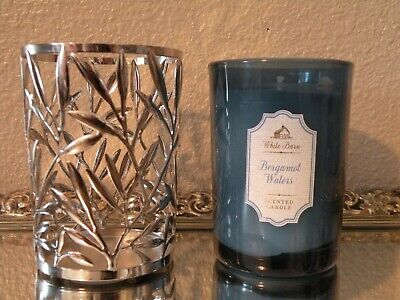 Bath & Body Works White Barn Bergamot Waters Scented Candle & Silver leaf Holder Bergamot Candle Scent