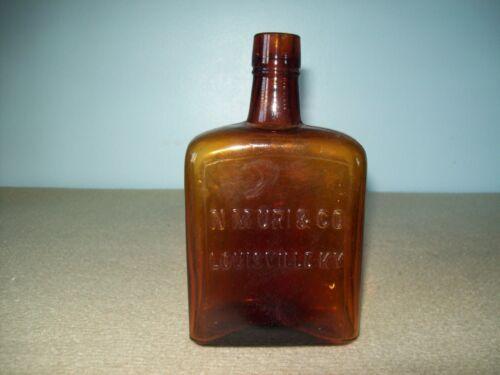 antique   M.N.Uri & Co   Louisville Ky amber glass Whiskey bottle