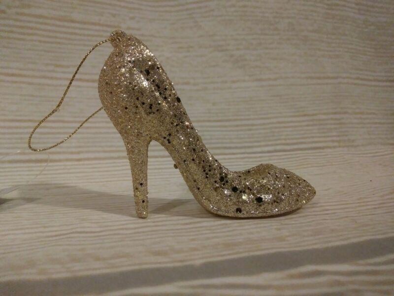 New! Glitter CHAMPAGNE GOLD HIGH HEEL SHOE CHRISTMAS TREE ORNAMENT Glam Diva