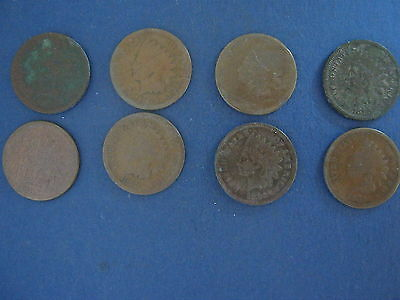 LOT OF EIGHT 8 1865 INDIAN HEAD CENTS