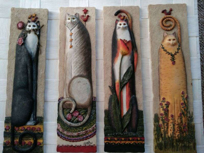 "E. Smithson Resin 3D Raised Wall Plaques Folk Art Cats 10.75"" x 2.75"""