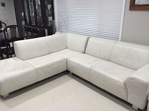 White Leather  Sofa Glenfield Campbelltown Area Preview