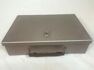 Vintage Heavy Duty Metal Lock Box Strong Box Safe Security Cash Box With Key