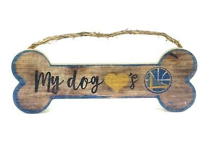 My Dog Loves Golden State Warriors Wooden Dog Bone Man Cave Sign NBA Basketball