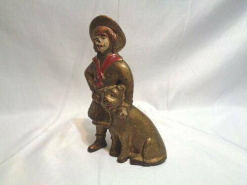 Old AC Williams Cast Iron Buster Brown & Tige Coin Still Bank Original