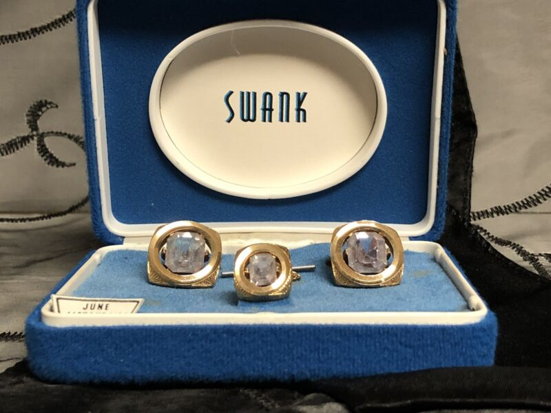 Vintage **SWANK**  Gold Tone Cuff Links and Tie Tack Tac ALEXANDRITE June NOS