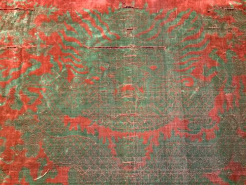 ANTIQUE 17th/ 18th c MING/ QI'ING CHINESE VOIDED VELVET PANEL DRAGON EMBROIDERED