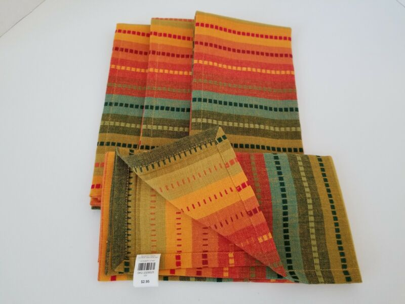 Set of 4 Pier 1 Striped Fiesta Style Cotton Napkins and 4 Matching Placemats