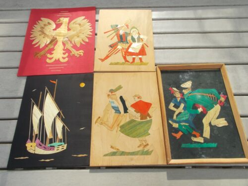 Poland Folk Art, Lot of 5 Straw Pictures