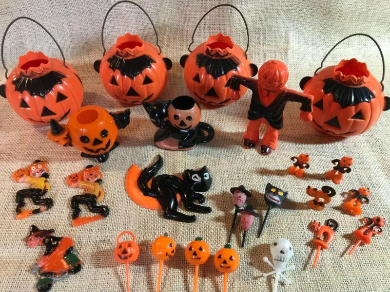 Vintage Plastic Halloween Decorations & Candy Holders - Rosbro