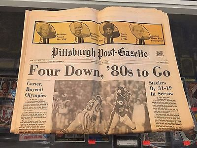 1 21 1980 Pittsburgh Post Gazette Newspaper Steelers Four Down 80S To Go Champ