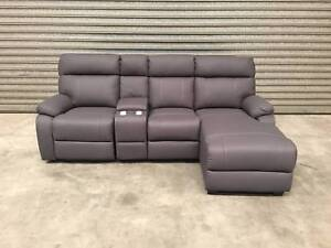 NEW 3-SEATER SOFA: EMILIO IN STEEL CHAISE   RECLINER PURE COMFORT Leumeah Campbelltown Area Preview