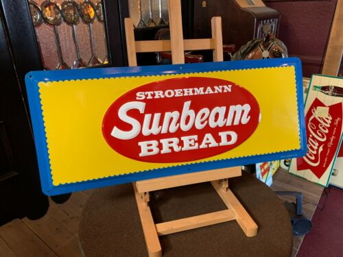 """NEW OLD STOCK SUNBEAM Bread Embossed 30"""" Tin Advertising Sign  """"Watch Video"""""""