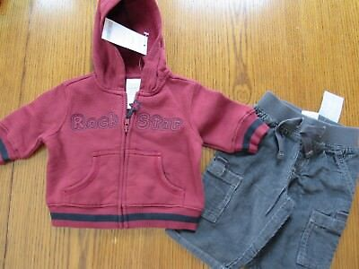 NWT GYMBOREE 2 pc ROCK STAR OUTFIT Maroon Hoodie & Gray Corduroy Pants Sz 0-3 mo](Rock Star Outfit)