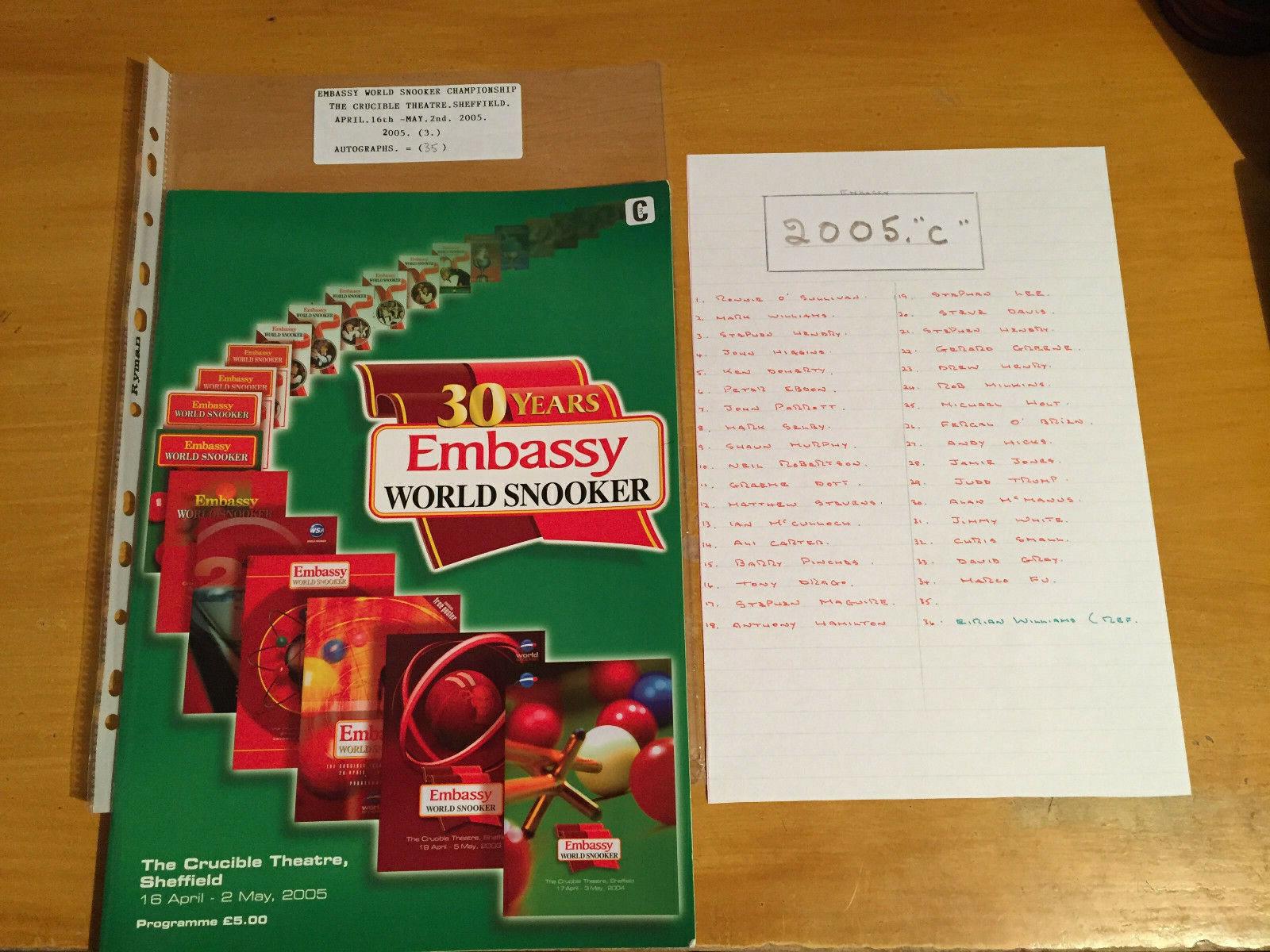 2005 Signed x 35 Embassy World Professional Snooker Championship Programme vgc