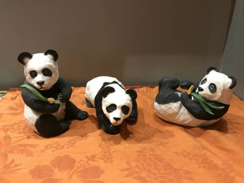 Set of 3 Vintage BOEHM Porcelain Panda Bear Figurines #200-97, 40237. and 40238