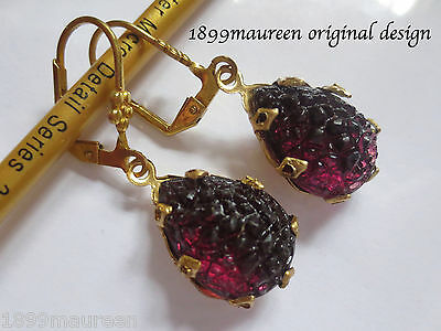 Tudor style Art Nouveau Art Deco earrings amethyst sugar glass vintage drop