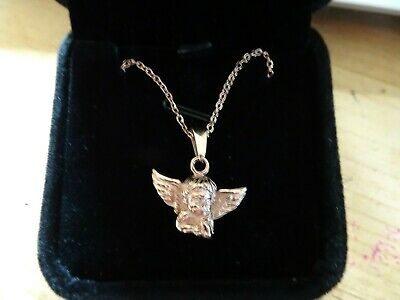 CLEARANCE - ITALIAN 18ct GOLD & SILVER ANGEL CHERUB Necklace, Pendant