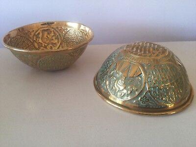 Pair Antique Brass Pot. Beautiful Eastern Detail.  Planter Vase Bowl
