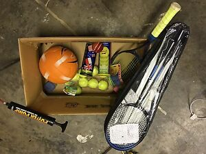 Tennis racquet & bits , badminton set (unused), netball Ferny Hills Brisbane North West Preview