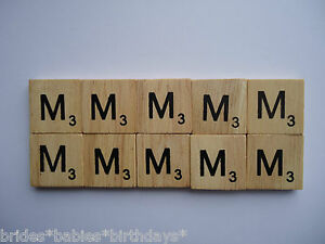 10-Ms-Wooden-Scrabble-Tiles-2cm-x-2cm-scrapbooking-Weddings-Pendants-Magnets