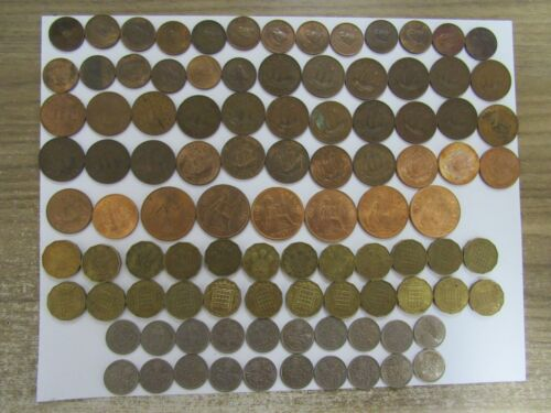 Lot of 194 Different Obsolete Great Britain Coins - 1937 to 1989 - Circ. & BU