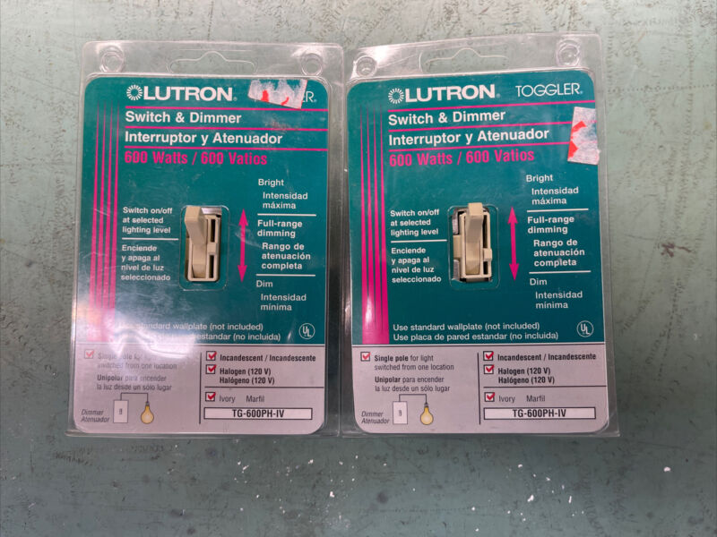 Lutron switch & dimmer ivory model TG-600PH-IV Set Of 2